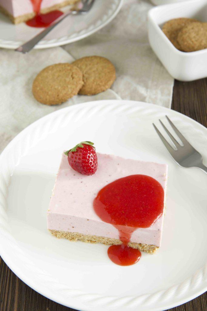 No Bake Erdbeer Quark Schnitten
